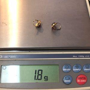 zz Jewelry - 14k yellow gold Garnet lever back earrings